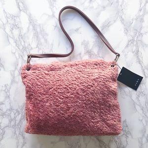 Zara pink faux fur clutch
